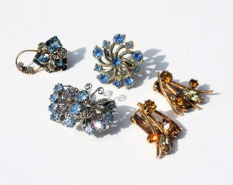 Vintage Rhinestone Jewelry: 5 Vintage Rhinestone Pieces Including M & S Gold FIlled, Something Old