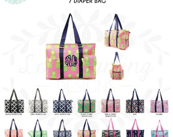 Monogrammed Tote / Diaper Bag / Pocket Utility Tote / Pool Bag