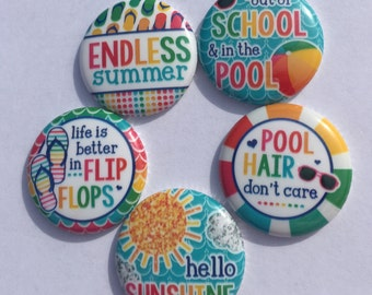 "Pool Time One inch 1"" flat back buttons hollow back pin back"