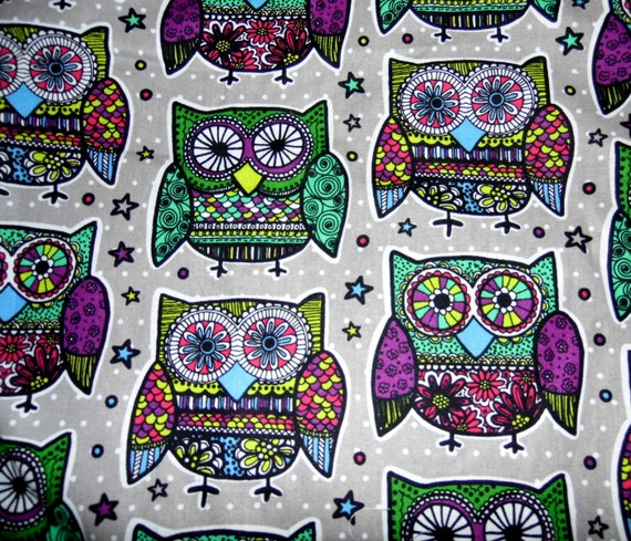 Owl fabric woodland purple fabric baby fabric grey for Purple baby fabric