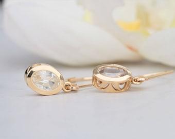 White Sapphire Dangle Earrings 14k Gold September Birthstone Gemstone Jewelry Gift for Her