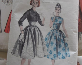 Vintage Sewing Pattern 1950 Full Skirted Dress Fitted Bodice with Jacket