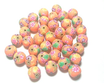 20 Fimo Polymer Clay Round Beads orange pink flowers beads 12mm