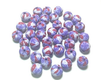 20 Fimo Polymer Clay Round Beads purple red flowers beads 12mm