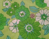 Mod Flowers in Green and Blue Vintage Sheet Fat Quarter