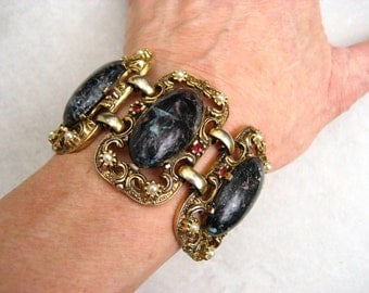 Vintage Selro Bracelet Midnight Blue Lucite Marbled Cabochon Faux Pearls Rhinestones