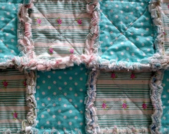 New item Handmade Shabby Chic Rag Quilt fabric Flannel Middle Floral and Polka Dots Aqua, White and Pink TABLE RUNNER MODA dogwood trail