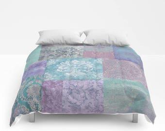 Vintage Kilim Patchwork Duvet Cover or Comforter, Bedding Bedspread Bohemian BOHO chic, Damask, Distressed, stone blue, duck egg, lavender