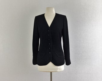 Vintage 80s authentic Chanel black wool jacket - 1980s Coco Chanel French blazer - small