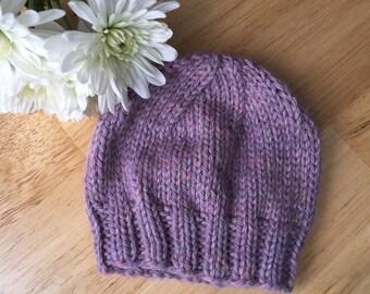 Lavender Heather Newborn Baby Beanie, Photo Prop, Infant Hat, Baby Girl