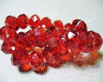 Crystal Beads Faceted Red Rondelles 12x8MM