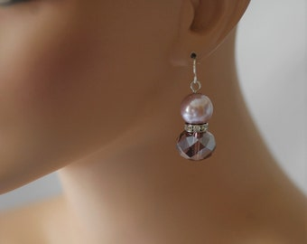 Dangle Earrings, Pink Purple Earrings, Gift for her, Short earrings, Drop earrings, Pink Pearl earrings, Birthday gift, Purple crystal
