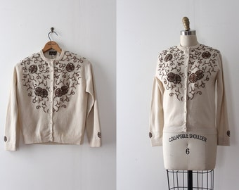 vintage 1950s novelty cardigan // 50s beaded wool asian sweater
