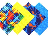 Quilt Square Clearance Grab Bag in a Fun Dinosaurs, Bright Yellow, Construction Trucks and Blue Tie Dye Matching Prints 50 Squares