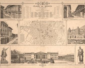 Vintage Map - Bogotá Colombia, 1890