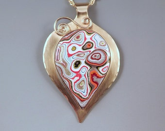 Fordite-Detroit Agate- 1970's Goovy Colors- Far Out Golden Pendant- Michigan Made- One of a Kind Necklace