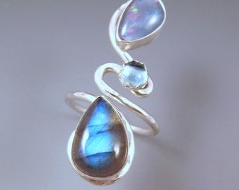Opal, Blue Topaz, and Labradorite- Blue Sky- Hammered Sterling Silver Swirl Ring- Adjustable Statement Ring