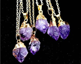 14K gold filled natural amethyst crystal tooth shaped necklace raw stone unique meditation crown chakra traveler's protection