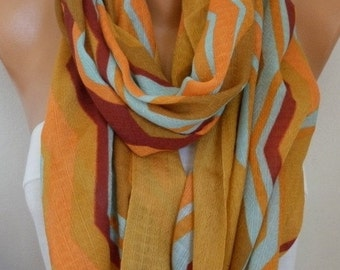 ON SALE --- Mustard Cotton Infinity Scarf, Fall Scarf, Cowl Oversize Wrap Gift Ideas For Her, Women Fashion Accessories, Women Scarves