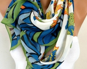 ON SALE --- CAT Print Cotton Scarf, Spring Summer Shawl, Cowl Oversized Wrap Gift Ideas For Her Women Fashion Accessories,Halloween Gift, Wo
