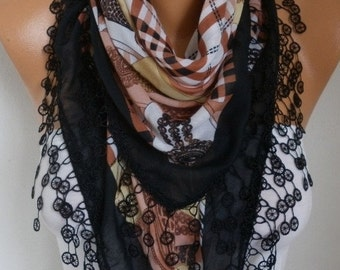 ON SALE --- Black Clock Cotton Scarf, Summer Scarf Teacher Gift Necklace Cowl Gift Ideas For Her  Women Fashion Accessories, Women Scarves