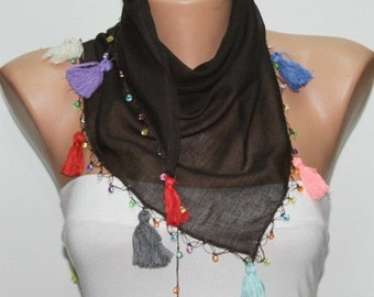ON SALE --- Brown tasselled Cotton Scarf  Spring Scarf evil eye bead, Necklace Gift Ideas for Her  Women Fashion Accessories