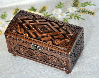 Jewelry box Wooden box Ring box Wood box Carving wood Jewellery box Wedding jewelry Jewellery box Wooden jewelry box Wood carving boxes B15