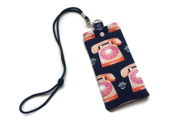 Cell Phone Necklace - Stocking Stuffer - Retro Pink Phones on Navy - Gift Under 15