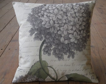 Gray Hydrangea Botanical Pillow,  16.5 inch square, French Country,  Rustic Farmhouse, Spring Accent, Mother's day Gift,  INSERT INCLUDED