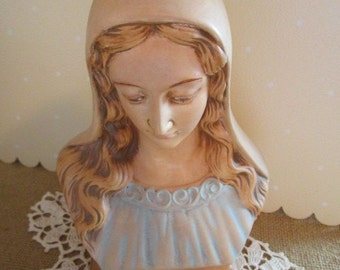 Madonna Bust Figurine    Virgin Mary    Blessed Mother   Hand Painted
