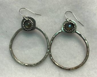 Handcrafted Sterling Silver Earrings with Natural Moonstone Cabochons