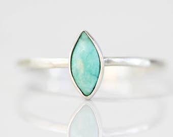 Recycled Sterling Silver Genuine Turquoise Tiny Marquise Ring / Chic Boho Jewelry / Simple Turquoise Ring/Tibetan Turquoise / Simple Jewelry