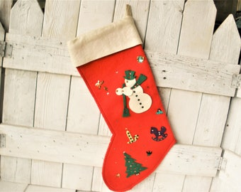 Vintage Christmas stocking handmade red felt applique childrens 1950s