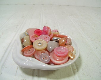 Vintage Variety of Shades of Pink Buttons Collection - 50 Buttons for Repurposing Upscaling Upcycling Sewing Buttons for Crafts and Projects