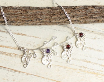 Birds of a Feather Sterling Silver Family Tree Necklace