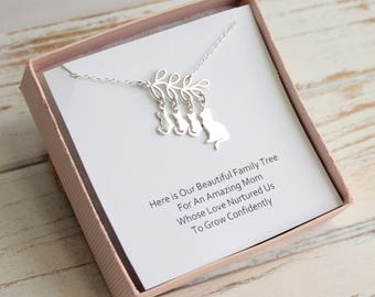 Sterling Silver Cat and Kitten Family Tree Necklace with Sentiment Card... Choose how many kittens