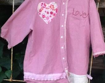 SALE summer pink rose oxford cloth PLUS XL workwear florist garden vintage linen gypsy prairie chef artist potter ooak  farm rustic shirt
