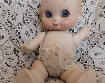 vintage Googly Eyed Baby Doll Ceramic jointed Kewpie Doll