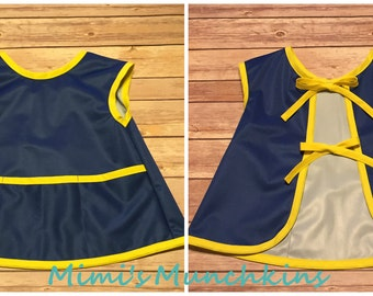 Kid's Apron, Navy & Yellow, Little Cook, Artist, Size 3, Ready to Ship