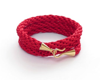 Red Cord Bracelet / Woven Bracelet / Braided Bracelet / Wrap Bracelet / Wristband / Plaited Bracelet / Friendship Bracelet / Gift for Her