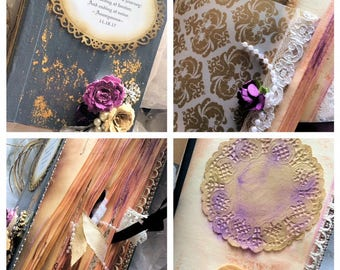 Wedding Sign in book -vintage Inspired Sign in guest book and photo album all in one