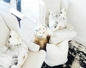 Designer Blush Pink Mauve and Grey Floral Print Pillow Cover Handmade Pillow Cover Home Decor Decorator