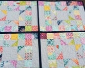 Modern Placemats - 4 Placemats - Gray Placemats - Quilted Placemats - Fabric Placemats - Table Quilt - Summer Table Decor - Table Mats