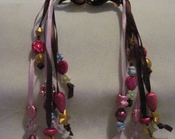 Hair Clips with Ribbons and Beads....set of 2....hand made...brown/Lavender and browns