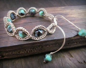 Bohemian Crochet Bracelet - adjustable, ocean turquoise