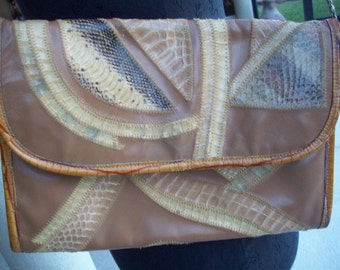 Patchwork Leather, Snake Skin Purse/Cutch Varon