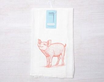 Great Pink Pig Flour Sack Towel   Cotton Dish Towel   Tea Towel   Farm Animal  Towel