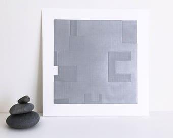 "Etching . Minimalist. SilverPrint: ""Intersection 8""  Size 14"""" x 14"". unframed"