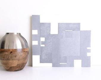 "Fine Art Etching . Minimalist. SilverPrint: ""Intersection 3"".  Size 16"""" x 14"". unframed"