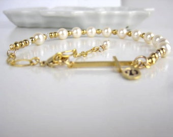 Rosary Bracelet, Swarovski cream pearls, Gold Cross, Personalized, Initial leaf , Baptism Gift, Confirmation Gift, Religious gift